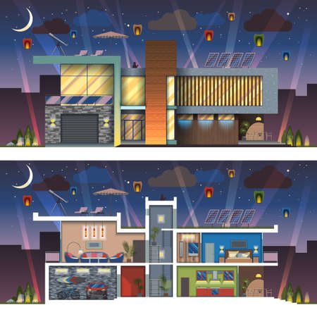 Luxury modern residential two-storied house facade and detailed furnished interior section at night. Minimalistic eco-friendly architecture with expressive facade lighting flat illustration