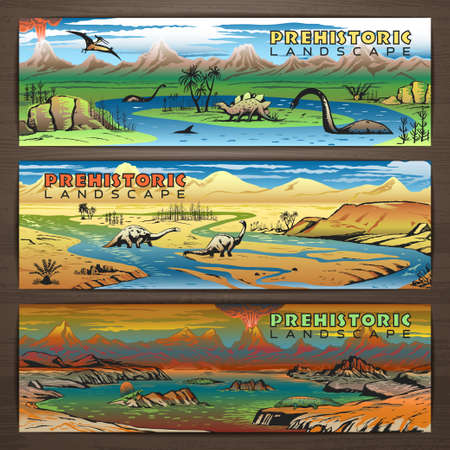 Prehistoric disegno tema banner con paesaggio incontaminato, dinosauri carnivori e piante antiche. Brochure, depliant, modello di cartolina per la promozione dei prodotti e della pubblicità Vettoriali