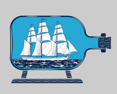 schooner: Vintage three-masted sailing schooner ship model in the glass bottle detailed graphic illustration. Popular marine theme souvenir and travel adventure concept, symbol, emblem isolated on gray