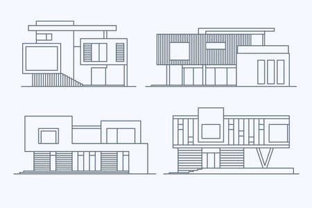 様々 な設計線形モダンな専用住宅の明るい背景に分離したセット。詳細なグラフィック シンボルとエレメントのコレクション