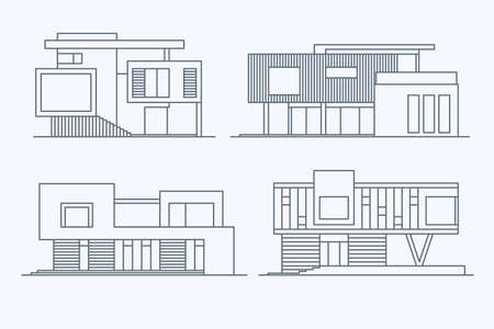 Set of various design linear modern private residential houses isolated on light background. Detailed graphic symbols and elements collection