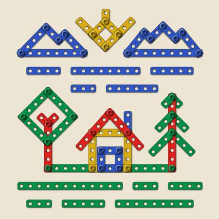 家と白い背景で隔離のキットを構築する子どもからさまざまなサイズ現実的なプラスチックの部品の設計の木とカラフルな簡単な回路図国シーン