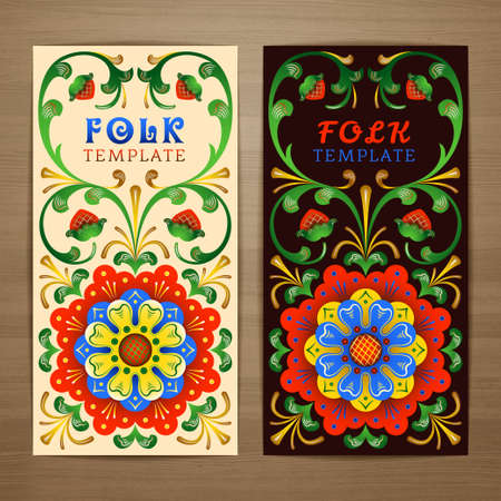 Abstract decorative tribal ethnic ornamental lace pattern in russian style card design. Brochure,  booklet, postcard template with floral elements for product promotion and advertising