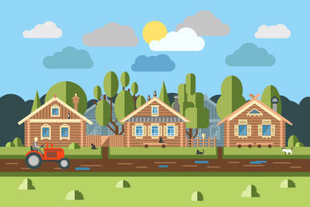 pitched roof: Rural East European village scene with old Slavic log houses in front of gravel road in the heart of the country flat style illustration. Ancient huts historic architectural symbols among woods