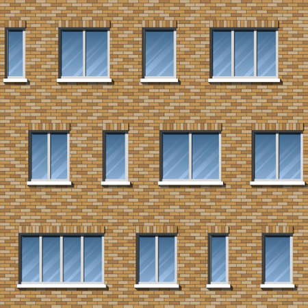 Brick wall building facade with various sizes of windows seamless pattern. Architectural background with uneven distribution of glazing and classic brick masonry, ceramic tile, composite panels