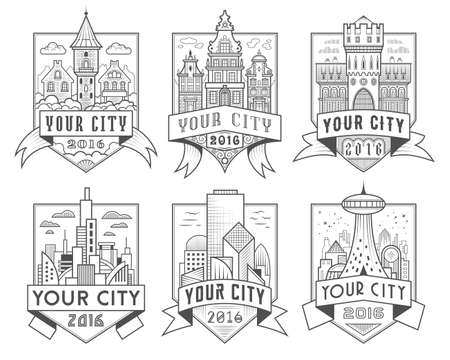 characteristic: Set of municipal and city characteristic architecture vector labels. Logotype templates, badges, emblems, signs graphic collection. Old and modern buildings design as main town representation symbols