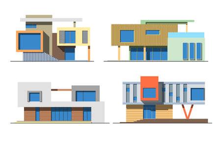様々 なデザインの色ベクトル フラット スタイル モダンな専用住宅白い背景で隔離のセットです。詳細なグラフィック シンボルとエレメントのコレ  イラスト・ベクター素材