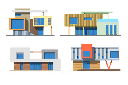 Set of various design color vector flat style modern private residential houses isolated on white background. Detailed graphic symbols and elements collection Ilustracja