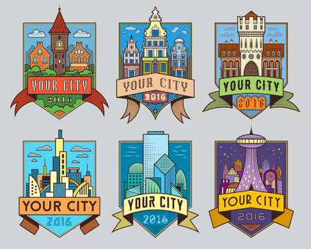 市民と市の特徴ベクトル色ラベルのセット。ロゴのテンプレート、バッジ、エンブレム、グラフィックのコレクションに署名します。昔と現代の建