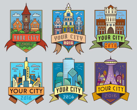 characteristic: Set of municipal and city characteristic architecture vector color labels. Logotype templates, badges, emblems, signs graphic collection. Old and modern buildings design town representation symbols