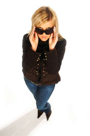 Blonde girl with black sunglasses on white Stock Photo - 339732