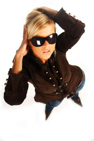 Blonde girl with black sunglasses on white Stock Photo - 339728