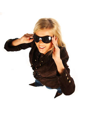 Blonde girl with black sunglasses on white Stock Photo - 339727