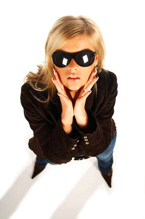 Blonde girl with black sunglasses on white Stock Photo - 339726