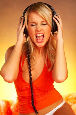 Sexy Girl with headphones close up Stock Photo - 339712