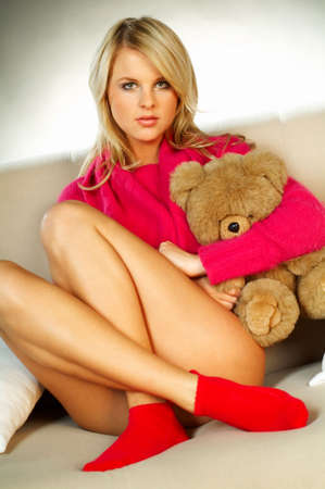 y blonde girl with teddy bear  Stock Photo - 341581