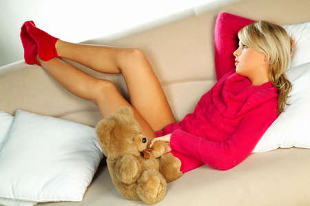 y blonde girl with teddy bear Stock Photo - 341579