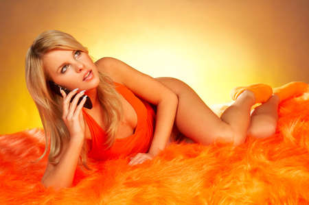 Sexy Blonde girl with cell phone Stock Photo - 341565