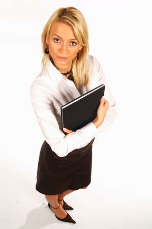 Sexy business women isolated on white holding book Stock Photo