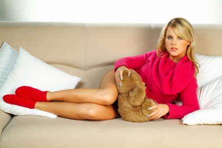 y blonde girl with teddy bear
