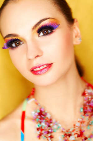 Portrait of attractive beautiful young sexy woman with artificial eyelashes and beautiful makeup Stock Photo - 375670