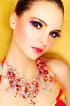 Portrait of attractive beautiful young sexy woman with artificial eyelashes and beautiful makeup Stock Photo - 375666