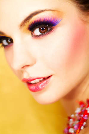 Portrait of attractive beautiful young sexy woman with artificial eyelashes and beautiful makeup Stock Photo - 375667