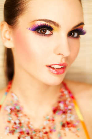 Portrait of attractive beautiful young sexy woman with artificial eyelashes and beautiful makeup Stock Photo