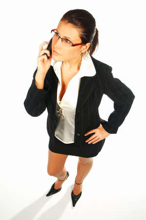 Sexy Business women isolated on white talking cell phone Stock Photo - 375630