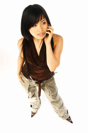 Sexy asian girl model talking cell phone