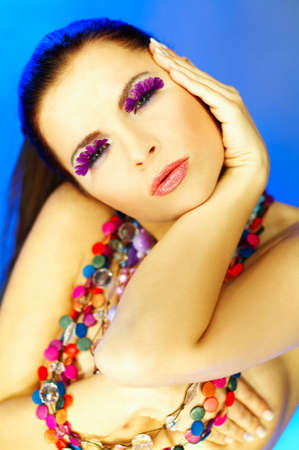 Portrait of attractive beautiful young sexy woman with artificial eyelashes and beautiful makeup Stock Photo - 386717