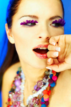 Portrait of attractive beautiful young sexy woman with artificial eyelashes and beautiful makeup Stock Photo - 386716