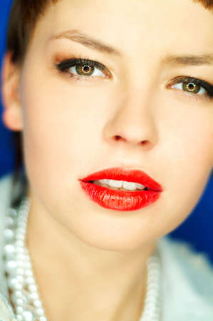 Portrait of beautiful young woman with red lipstick Stock Photo - 386718