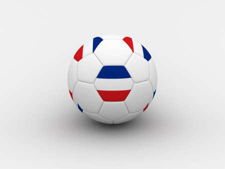 serbia and montenegro: Photorealistic 3D soccer ball isolated on white background in national Serbia & Montenegro colors