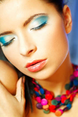 Portrait of attractive beautiful young sexy woman with blue makeup Stock Photo - 393127