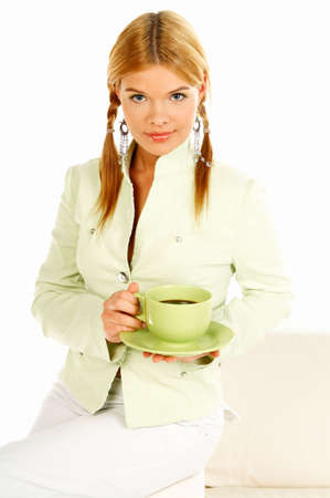 Portrait of attractive beautiful young woman with green cup od black coffee Stock Photo - 411432