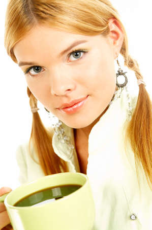 Portrait of attractive beautiful young woman with green cup od black coffee Stock Photo - 411428