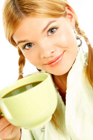 Portrait of attractive beautiful young woman with green cup od black coffee photo