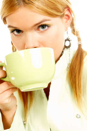 Portrait of attractive beautiful young woman with green cup od black coffee Stock Photo - 411425