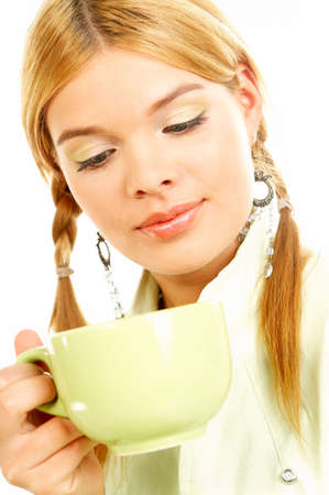 Portrait of attractive beautiful young woman with green cup od black coffee Stock Photo - 411426