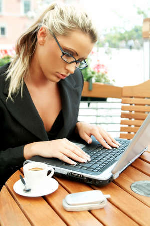 Business women working with laptop computer Stock Photo - 446631