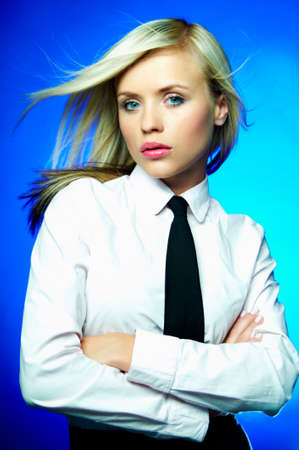 Sexy Young Business woman wearing white shirt and black tie photo