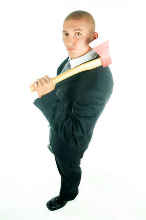 A young businessman with a blue tie and white shirt with axe Stock Photo - 495083