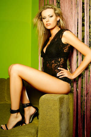 Sexy beautiful lingerie female model posing Stock Photo - 508518