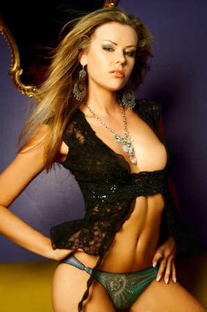 Sexy beautiful lingerie female model posing photo