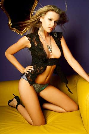 Sexy beautiful lingerie female model posing Stock Photo - 508504