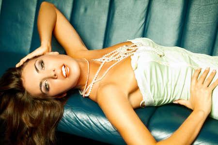 Sexy lingerie female model on sofa Stock Photo - 508482
