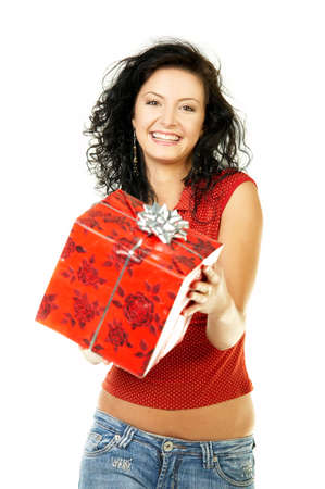 gifting: Beautiful woman with boxed gift in her hands