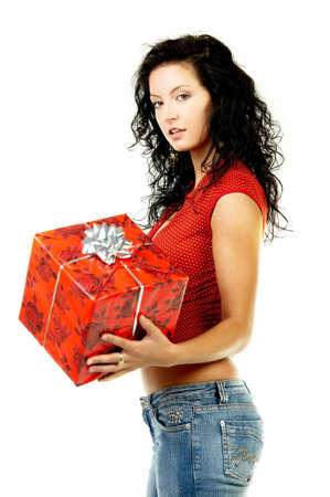 gratuity: Beautiful woman with boxed gift in her hands