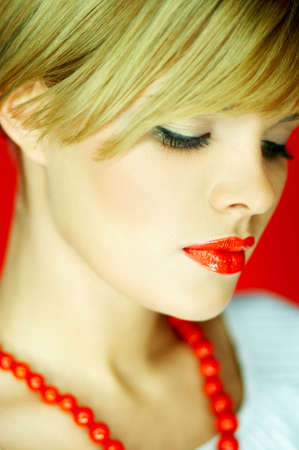 Portrait of attractive beautiful young sexy woman red necklace Stock Photo - 610678